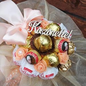 Raffaello csokor, Csokor & Virágdísz, Dekoráció, Otthon & Lakás, Virágkötés, Mindenmás,  Igény szerint más feliratot is lehet kérni rá.Ballagásra,névnapra akár...vagy köszönetképpen pedagó..., Meska