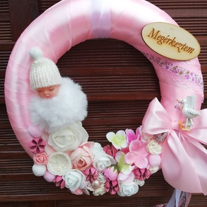 Babavàró rózsaszín, fehér ajtódísz , Otthon & Lakás, Dekoráció, Ajtódísz & Kopogtató, Kislányt vàró szülőknek babavàró ajtódísz. Átmérője 28cm., Meska