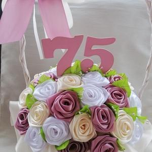 Örökrózsa kosár mályva,fehér színben, Otthon & Lakás, Dekoráció, Asztaldísz, Virágkötés, Mindenmás, Mályva,fehér színű örökéletű,kézzel készített rózsakosár.A megajandekozottnak  nagy öröm lesz.Mivel ..., Meska