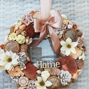 Ajtódísz, Otthon & Lakás, Dekoráció, Ajtódísz & Kopogtató, Virágkötés, Natúr színű ajtódísz.Átmérője 27cm., Meska