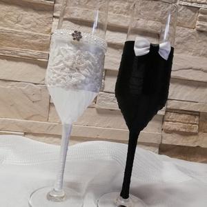 Esküvői pezsgős pohár szett, Esküvő, Esküvői szett, Mindenmás, Különleges,szaténszalaggal díszített pezsgős poharak ünnepi koccintásra.Bármilyen színben elkészítem..., Meska