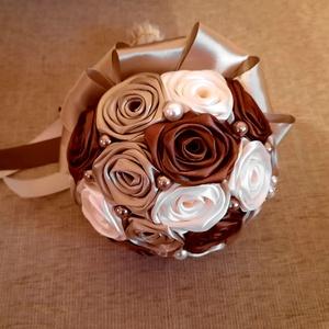 Menyasszonyi örökcsokor barna,ekrü és arany színben , Esküvő, Menyasszonyi- és dobócsokor, Gyönyörű és örök menyasszonyi csokor!Nagy  kedvenc a rendelőim között ez a szín összeállítás :barna,..., Meska