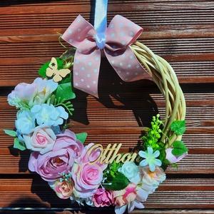 Tavaszi Ajtódísz, Otthon & Lakás, Dekoráció, Ajtódísz & Kopogtató, Virágkötés, Rózsaszín, fehér minőségi virágokból készült tavaszi ajtódísz.Átmérője  28cm., Meska