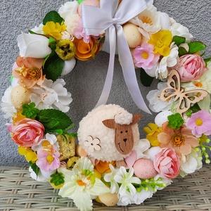 Húsvéti ajtódísz , Otthon & Lakás, Dekoráció, Ajtódísz & Kopogtató, Virágkötés, Az ajtódísz mérete 26cm.Azonnal postázom!, Meska