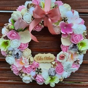 Ajtódísz, Otthon & Lakás, Dekoráció, Ajtódísz & Kopogtató, Rózsaszín ,fehér, krém,világos lila színű ajtódísz.Átmérője 26 cm., Meska