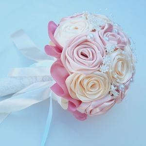 Menyasszonyi csokor, Esküvő, Menyasszonyi- és dobócsokor, Virágkötés, Meska