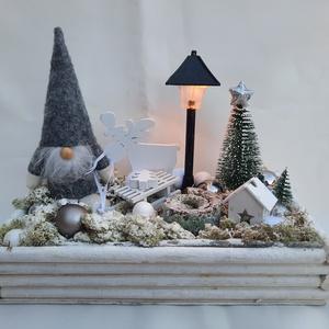 Karácsonyi asztaldísz világító kandelláberrel - Meska.hu