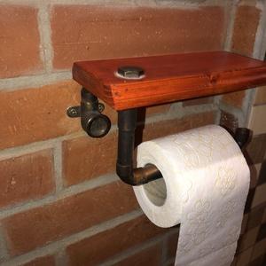 WC papír tartó., Otthon & lakás, Festett tárgyak, Famegmunkálás, WC papír tartó nagyon praktikus, ami készült fa és réz vízvezeték csőből, fa része lazúrozva,\na réz ..., Meska