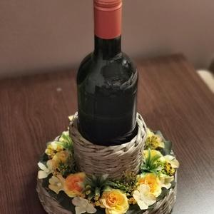 Italtartós ajándék dísz , Otthon & Lakás, Dekoráció, Asztaldísz, Újrahasznosított alapanyagból készült termékek, Papírművészet, Tökéletes születésnapra, névnapra, köszönet ajándéknak, anyáknapjára, vagy csak úgy.\nPezsgő és bor i..., Meska