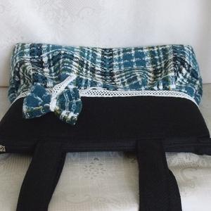 Kék kockás válltáska,masnival (dzsemo) - Meska.hu