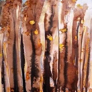 Erdő - szignált, művészi giclée nyomat, Otthon & lakás, Karácsony, Képzőművészet, Dekoráció, Ünnepi dekoráció, Karácsonyi dekoráció, Egy őszi, Pilisbe tett kirándulás után festettem az eredeti festményt, amelyről kiváló minőségű, 190..., Meska