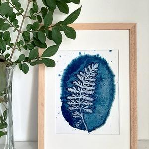 """""""Páfrány"""" Eredeti cianotípia (napnyomat), Otthon & lakás, Képzőművészet, Fotográfia, Illusztráció, Eredeti, szignált, botanikai cianotípia (napnyomat, kéknyomat), jó minőségű, művész akvarellpapíron...., Meska"""