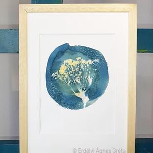 """""""Virág"""" Eredeti szignált cianotípia (napnyomat), Otthon & lakás, Képzőművészet, Fotográfia, Illusztráció, Dekoráció, Kép, Eredeti, szignált, botanikai cianotípia (napnyomat, kéknyomat), jó minőségű, művész akvarellpapíron...., Meska"""