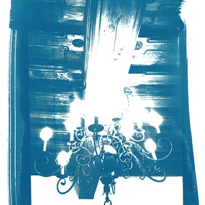 Csillár - napnyomatról készült, giclée print, Otthon & lakás, Karácsony, Képzőművészet, Dekoráció, Karácsonyi dekoráció, Grafika, A soproni Storno-ház egyik csodaszép csillárjáról készült az eredeti cianotípiám, amelyről kiváló mi..., Meska