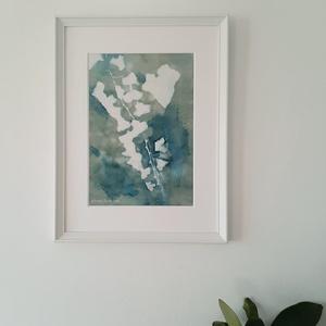 Borostyán - szignált giclée művészi nyomat, Otthon & lakás, Karácsony, Képzőművészet, Dekoráció, Ünnepi dekoráció, Karácsonyi dekoráció, Van Gogh kedvenc növénye, a borostyán ihlette az eredeti cianotípiát, amelyről a kiváló minőségű, gi..., Meska