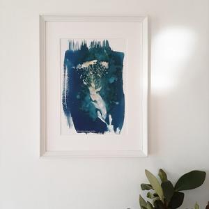 """""""Vízbevirág"""" - művészi nyomat, Otthon & lakás, Karácsony, Képzőművészet, Dekoráció, Karácsonyi dekoráció, Fotográfia, Egy patakparti vadvirágról készült az eredeti cianotípiám, amelyről a kiváló minőségű, giclée művész..., Meska"""