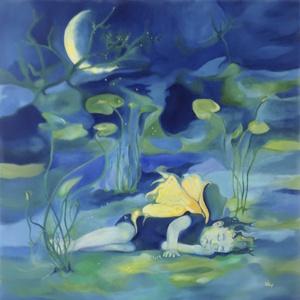 Tündér, Művészet, Művészi nyomat, Festészet, A képet a Misztrál együttes Gyöngyöt az embernek című dala ihlette. A kép digitális festményemből ké..., Meska