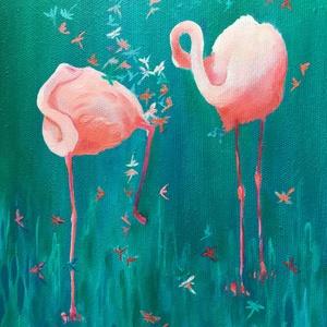 Flamingók, Művészet, Festmény, Olajfestmény, Festészet, Eredeti olajfestmény, vásznon. Azonnal falra akasztható vagy igény szerint kereteztethető.\nMéret: 18..., Meska