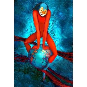 Bohóc, Képzőművészet, Grafika, Fotó, grafika, rajz, illusztráció, A Bohóc bolygónkon lovagolva szeli át a teret, egyszerre összetartva és szétszaggatva a Földet. Mér..., Meska