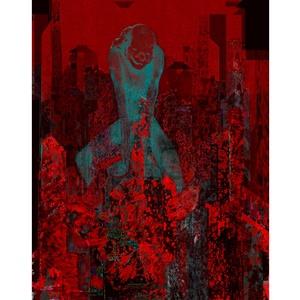 Megérkezés , Képzőművészet, Grafika, Fotó, grafika, rajz, illusztráció, A  Bohóc útjának vége: megérkezés a Városba. Digitális grafika Méret: 40x50 cm;150 dpi felbontás  L..., Meska