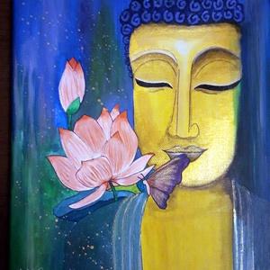 Arany Buddha lótusszal, Művészet, Festmény, Akril, Festészet, 25x30 cm-es vászonra készített festmény akril technikával. Az arany Buddha csillogó metál arany akri..., Meska