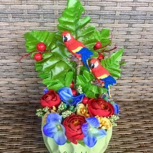 Trópusi hangulat, Otthon & Lakás, Dekoráció, Asztaldísz, Virágkötés, Élvezd a nyarat! \nTeremts nappalidba, irodádba, teraszodra trópusi hangulatot, vibráló színekkel, pa..., Meska