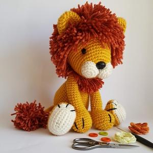 Amigurumi oroszlán, Más figura, Plüssállat & Játékfigura, Játék & Gyerek, Baba-és bábkészítés, Horgolás, Itt van Felix a kedves oroszlán. Már nem kis oroszlán, hiszen csodaszép barna sörénnyel rendelkezik...., Meska