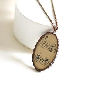Gyűrű antik kotta - zene kedvelő vagy zenész  nők részére - koncerten is viselhető - különleges ékszer - ünnepi alkalom (Ediartglass) - Meska.hu