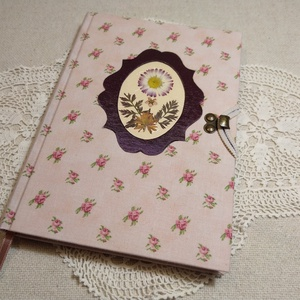 A/5 Rózsaszín rózsás, vonalas virágberakásos napló, Otthon & Lakás, Jegyzetfüzet & Napló, Papír írószer, Mindenmás, Könyvkötés, Meska