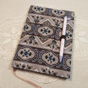 A/5 Barna-kék mintás,,  tollas napló, Otthon & Lakás, Papír írószer, Jegyzetfüzet & Napló, Könyvkötés, Meska