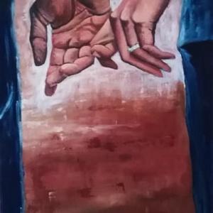 Kéz a kézben, Akril, Festmény, Művészet, Festészet, 70 x 30 cm akril festmény, Meska