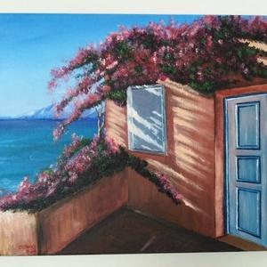 Egy kis Görögország, Akril, Festmény, Művészet, Festészet, 35X50 cm festmény, Meska