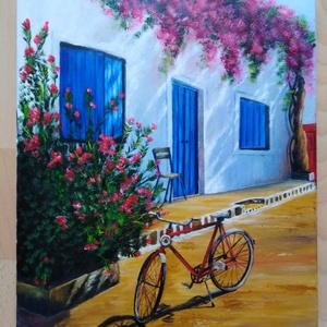 Görögország, Művészet, Festmény, Akril, Festészet, 50 x 40 cm akril festmény, Meska