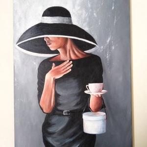 Kalapos nő, Művészet, Festmény, Akril, Festészet, 70 x 50 cm akril festmény, Meska