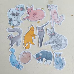 Cicák aquarell díszítő szett DIY scrapbook, DIY (Csináld magad), Egységcsomag, Papírművészet, A cicák fantasztikus világát ragadtuk meg ebben a díszítő szettben. Igazi színészek ugye? Egyszer ki..., Meska