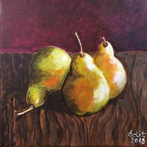 Gyümölcs sorozat, Művészet, Festmény, Olajfestmény, Festészet, 3 db. 20x20 cm-es feszített vászon olajfestmények, Meska