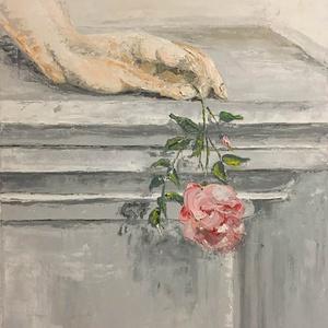 """Festmény, Olajfestmény, Festmény, Művészet, Festészet, Rózsaszál a címe a festménynek. Koptatott fehér \""""vintage\"""" keretben, nagyon hangulatos ,finom festmén..., Meska"""