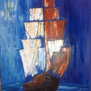 Vitorlas, Művészet, Festmény, Olajfestmény, Festészet, Megtépázott tengeri vitorlás , olajfestmeny, 70x50, Meska