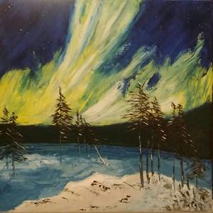Auróra Borealis, Művészet, Festmény, Olajfestmény, Festészet, Északi fény megfestve, olajfestmeny, mérete: 40x40cm, vaszon, Meska