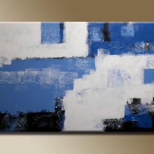 30%OFF Kék Absztrakt, Művészet, Festmény, Akril, Festészet, Kék Fehér Absztrakt feszített vásznon.\nAzonnal falra akasztható, nem igényel keretezést.\nMéretei: 50..., Meska