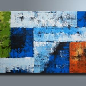 30%OFF Kék Narancs Absztrakt, Művészet, Festmény, Akril, Festészet, Kék Narancs Absztrakt feszített vásznon.\nAzonnal falra akasztható, nem igényel keretezést.\nMéretei: ..., Meska
