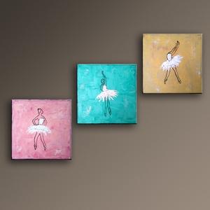 30%OFF Balett táncosok - 3 részes festmény, Művészet, Festmény, Akril, Festészet, 3 darabból álló modern balett táncosokat ábrázoló festmény.\nVegyes technikával készült.\nMérete gyenk..., Meska