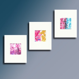 MINI ABSTRAcT Set of 3 Passepartout ajándékkal, Művészet, Festmény, Napi festmény, Festészet, 3 darabból álló Daily-painting , passepartout ajándékkal.\nA festmények mérete 10x10 cm.\nA passeparto..., Meska