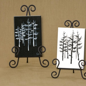 Fekete fehér fenyvesek - Set of 2, Művészet, Festmény, Napi festmény, Festészet, A 2 darabból álló festmény kasírozott vászonra készült.\nA festmények mérete egyenként 10x15 cm.\nStan..., Meska