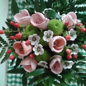 Horgolt tulipán csokor , Esküvő, Esküvői csokor, Csokor, Dekoráció, Otthon & lakás, Horgolás, Csodás tulipán \n\nBármilyen évszakban viríthat tulipán a csokrunkban. Horgolt technikával készült tul..., Meska