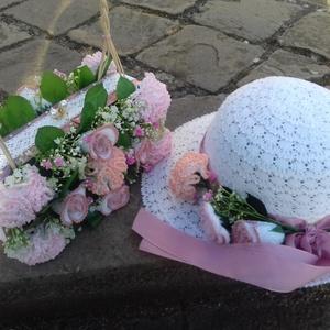 Menyasszonyi kalap, táska örök virággal, Esküvői szett, Esküvő, Horgolás, Egy igen egyedi és csodálatos szettet készítettem, ami az arát még különlegesebbé teheti a Nagy napo..., Meska