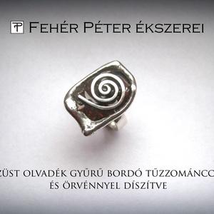 Olvadék bordó tűzzománc csigás ezüst gyűrű (egszeresz) - Meska.hu