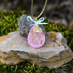 Műgyanta nyaklánc arany virággal, ékszer nőknek, lányos medál, ajándék, alkalmi ékszer - Meska.hu