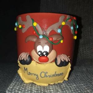 Karácsonyi bögre, Karácsony & Mikulás, Gyurma, Egyedi, süthető gyurmával készült bögre.\nMinden bögrét saját magunk készítünk és dekorálunk.\nA bögre..., Meska
