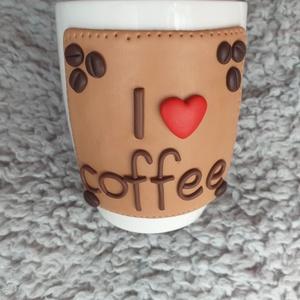 I ❤ coffee bögre, Otthon & Lakás, Konyhafelszerelés, Bögre & Csésze, Gyurma, Egyedi, süthető gyurmával készült bögre.\nMinden bögrét saját magunk készítünk és dekorálunk.\nA bögre..., Meska